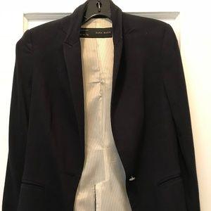 Zara XS navy cotton blazer
